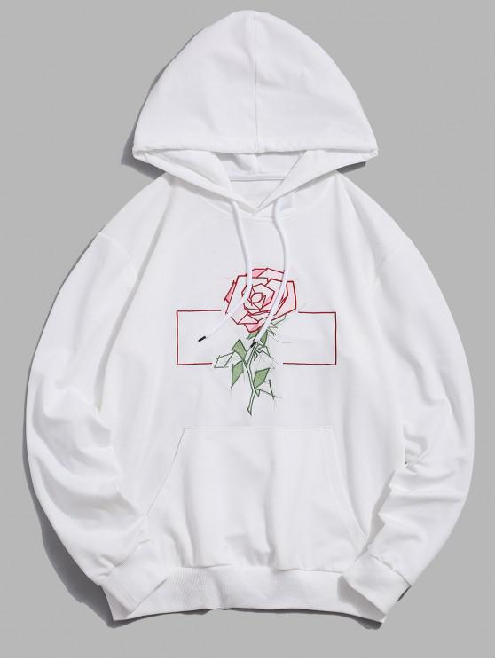hot ZAFUL Flower Embroidery Pouch Pocket Hoodie - WHITE 2XL