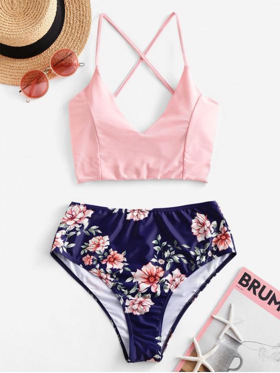 ladies ZAFUL Flower Print Lace Up High Cut Tankini Swimsuit - PINK M