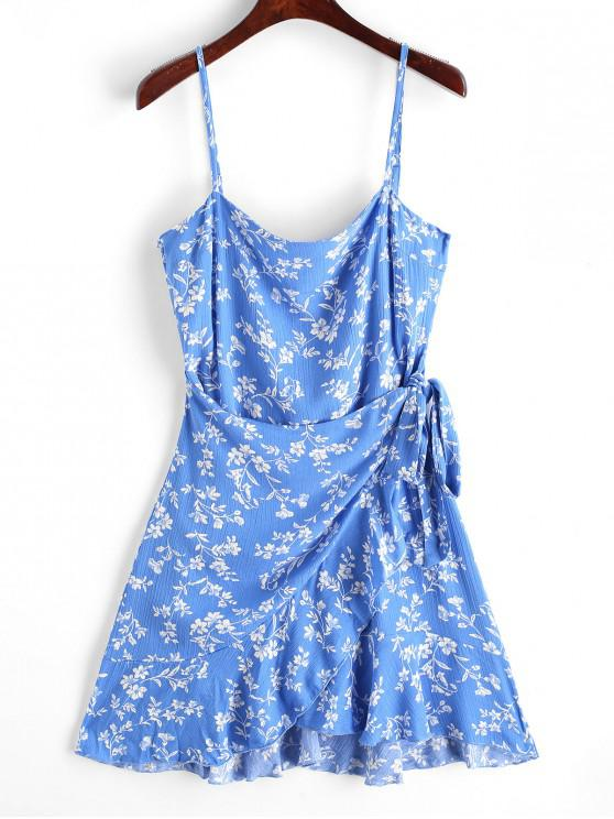 shop Ruffles Overlap Mini Dress - BLUE M