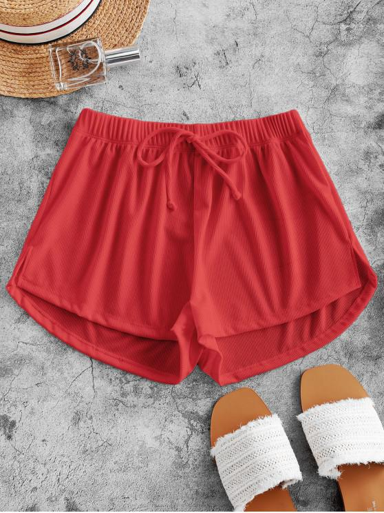 women ZAFUL Tie Ribbed Shorts - RED L
