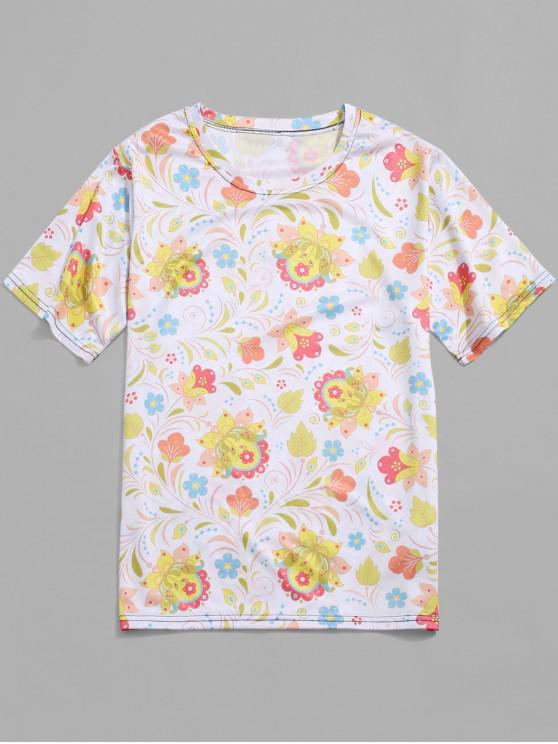 Fiore Allover Print vacanze manica corta T-shirt - Crema M