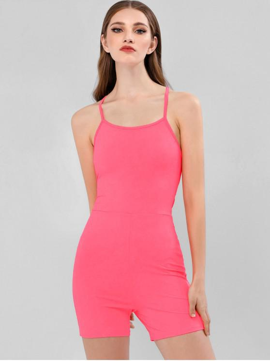 shops ZAFUL Backless Lace Up Neon Skinny Romper - NEON PINK L