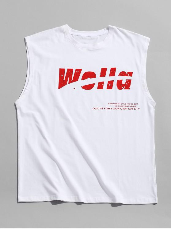 ladies Letter Pattern Casual Tank Top - WHITE 3XL
