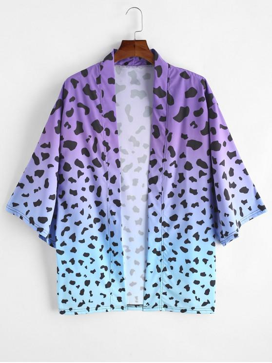 buy Ombre Leopard Print Open Front Kimono Cardigan - PURPLE 3XL