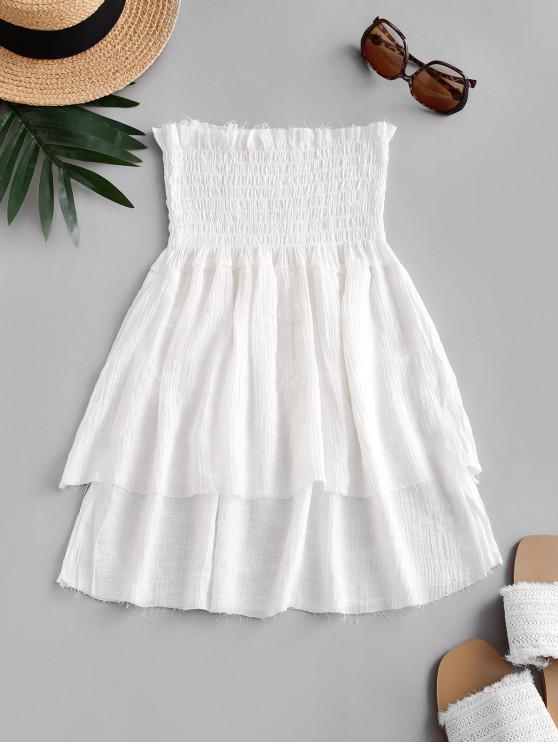 Smocked الخصر المتدرج شاطئ تنورة ميني - أبيض حجم واحد