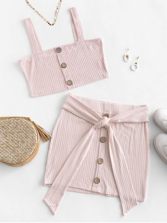 hot ZAFUL Button Embellished Belted Bodycon Skirt Set - SAKURA PINK XL