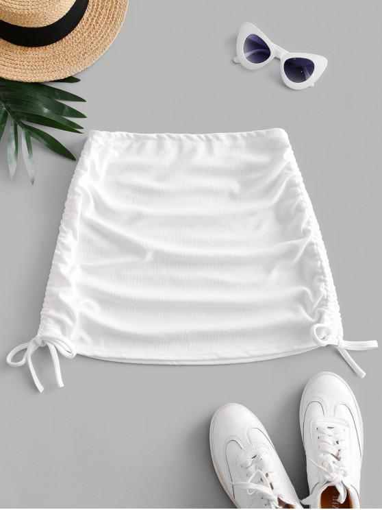 chic Ribbed Cinched Side Mini Skirt - WHITE ONE SIZE