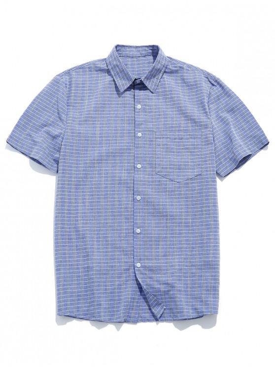 fashion ZAFUL Grid Print Pocket Button Shirt - BLUE GRAY XL