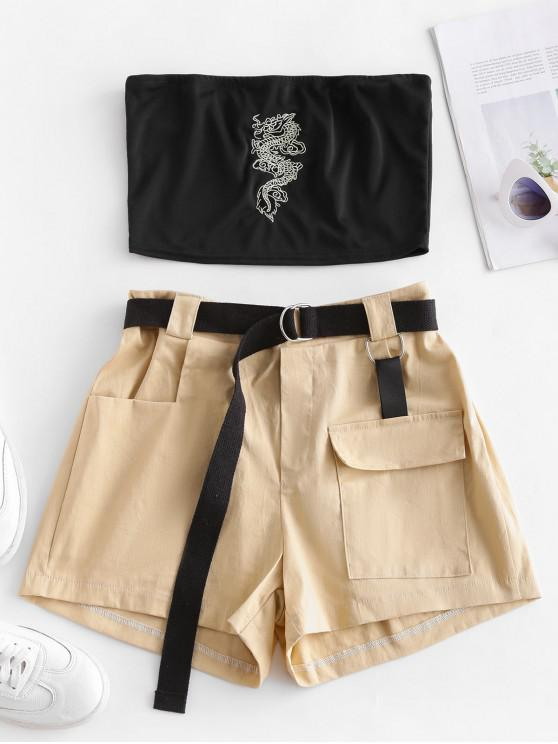 online Two Piece Dragon Embroidered Oriental Cargo Shorts Set - MULTI-A S
