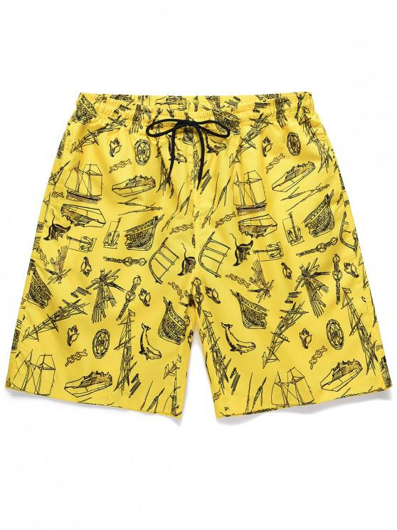 fashion Boat Printed Drawstring Casual Shorts - YELLOW 2XL