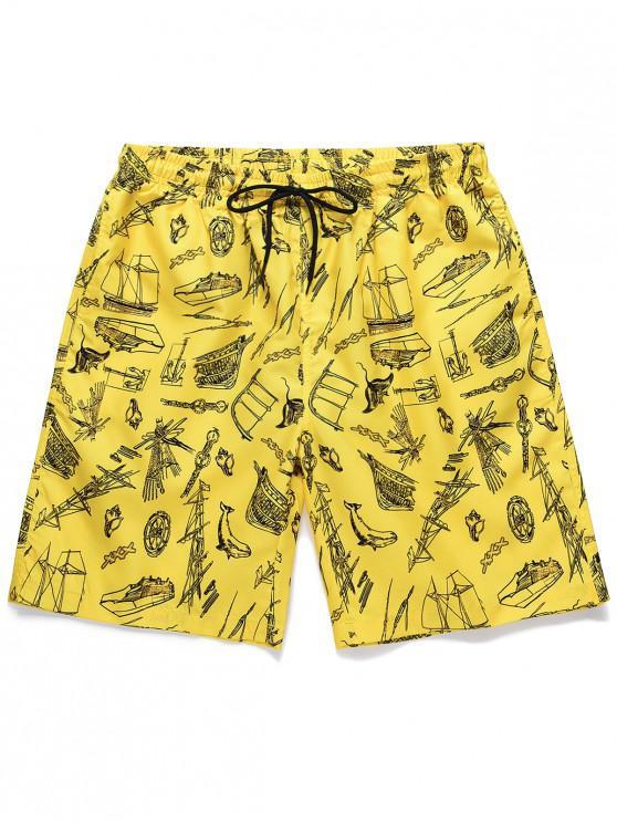 Boat Printed Drawstring Casual Shorts - الأصفر M