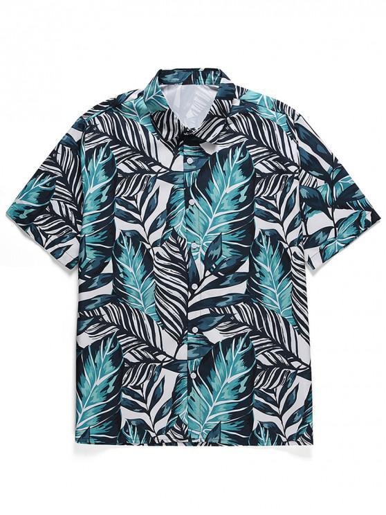 buy Leaf Print Button Casual Shirt - MACAW BLUE GREEN 2XL