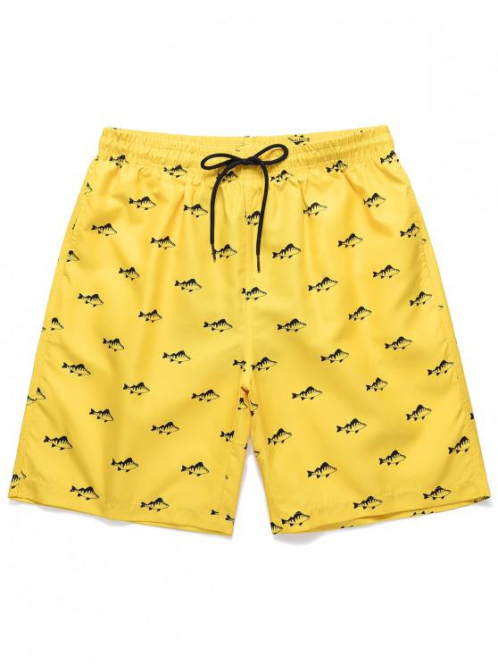 buy Fish Print Drawstring Casual Shorts - YELLOW 2XL