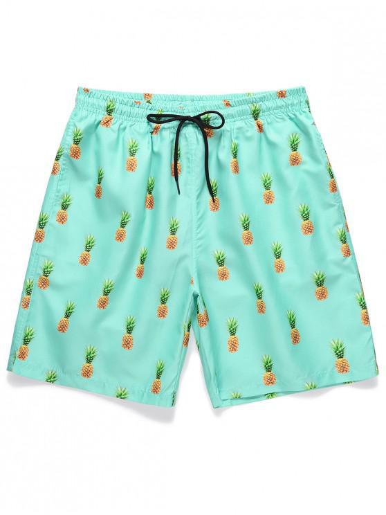 Pantaloncini Casuali Stampati Ananas con Coulisse - Celeste XL