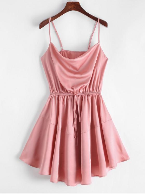 outfit ZAFUL Silky Cowl Neck Cami Dress - TULIP PINK S