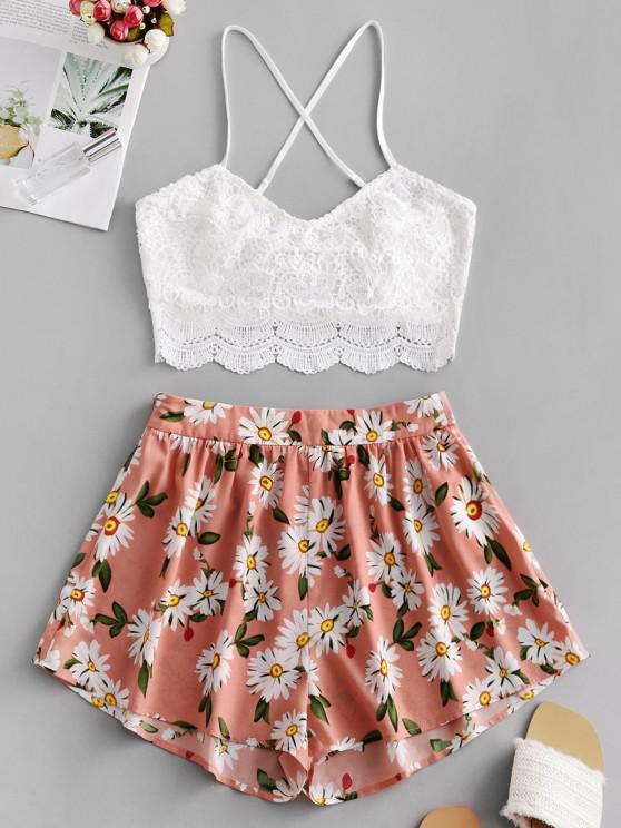online ZAFUL Flower Print Guipure Lace Insert Tie Back Shorts Set - LIGHT CORAL S