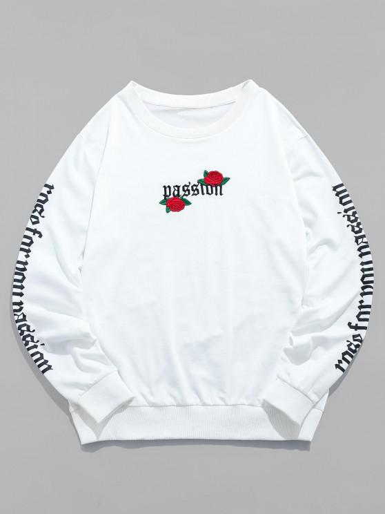 womens ZAFUL Rose Letter Embroidered Casual Sweatshirt - WHITE S