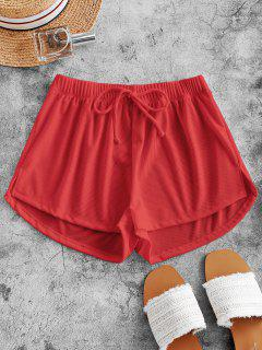 ZAFUL Tie Ribbed Shorts - Red S