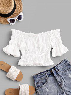 Solid Off Shoulder Smocked Beach Top - White