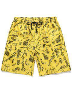 Boat Printed Drawstring Casual Shorts - Yellow L