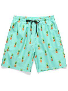Pineapple Printed Drawstring Casual Shorts - Celeste Xl