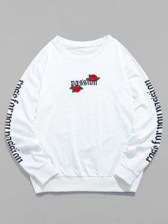 ZAFUL Rose Letter Embroidered Casual Sweatshirt - White S