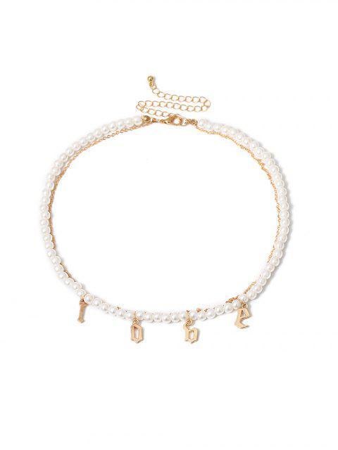 Многослойное Ожерелье Искусственный жемчуг Буква - Золотой  Mobile