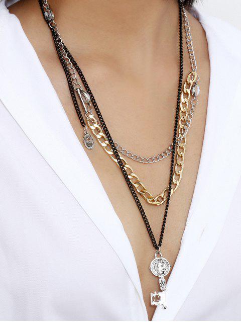 Ключ Многослойное Ожерелье С подвеской - Золотой  Mobile