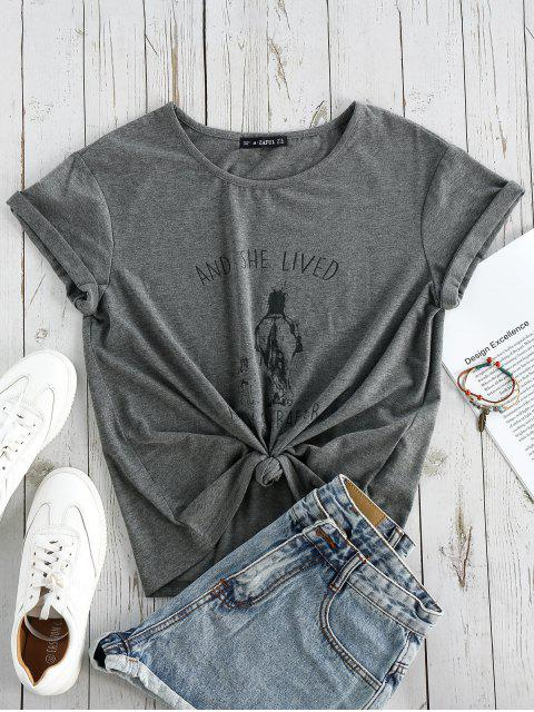 chic ZAFUL Graphic Short Sleeves T-shirt - GRAY L Mobile