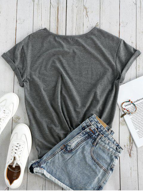 ladies ZAFUL Graphic Short Sleeves T-shirt - GRAY XL Mobile