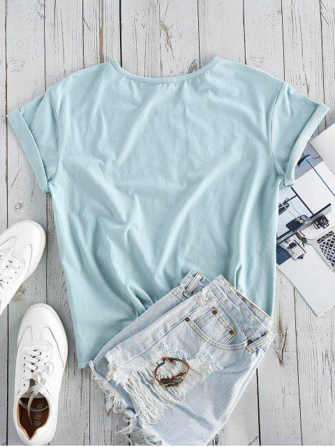 new ZAFUL Slogan Short Sleeve T-shirt - BABY BLUE L Mobile