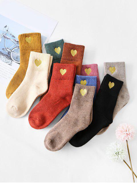 10 пара Принт сердца Средняя длина Носки Набор - Многоцветный-A  Mobile