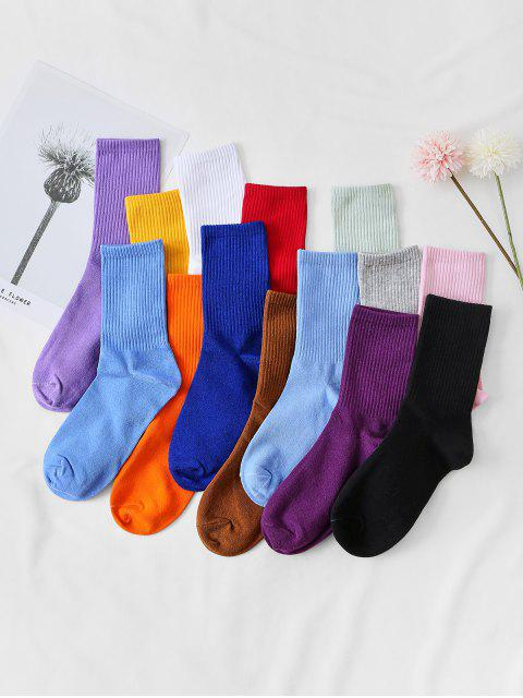 fancy 14 Pairs Solid Sports Socks Set - MULTI-A  Mobile