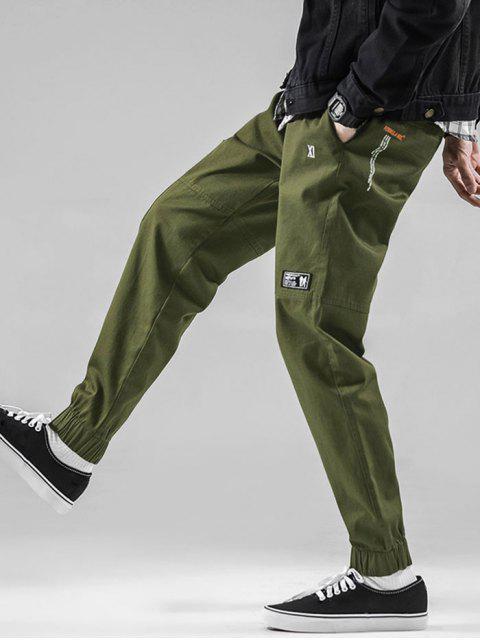 圖形圖案抽繩休閒褲慢跑者 - 軍綠色 M Mobile