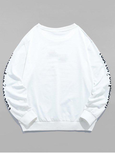 ZAFUL玫瑰刺繡信休閒運動衫 - 白色 M Mobile