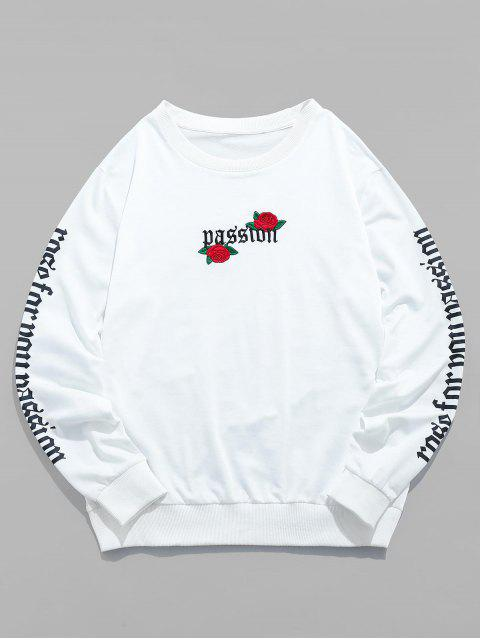 lady ZAFUL Rose Letter Embroidered Casual Sweatshirt - WHITE 2XL Mobile