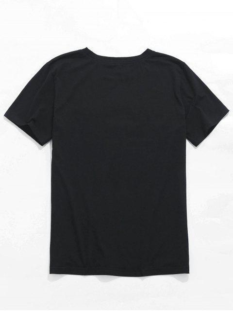 ZAFUL玫瑰繡花信短袖T卹 - 黑色 S Mobile