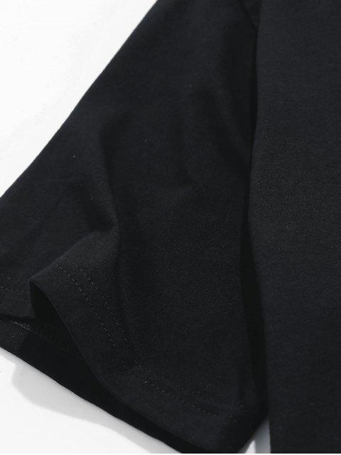 unique ZAFUL Rose Letter Embroidered Short Sleeves T-shirt - BLACK L Mobile