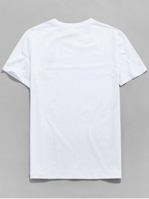 玫瑰圖形繡花短袖T卹 - 白色 S Mobile