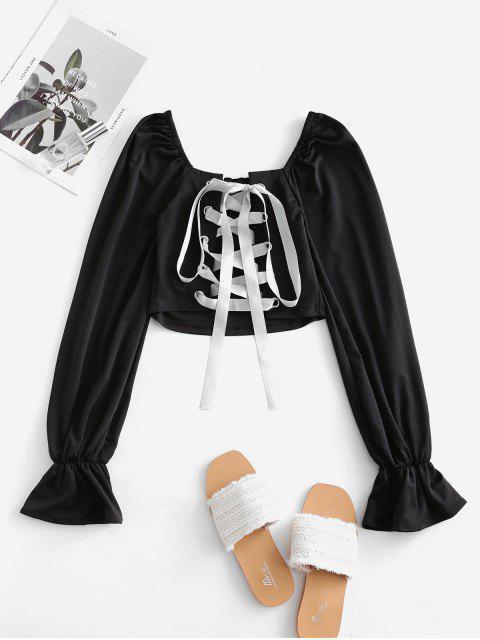 online Back Lace Up Poet Sleeves Crop Blouse - BLACK L Mobile
