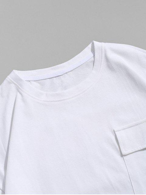 字母字符,打印休閒T卹 - 白色 4XL Mobile