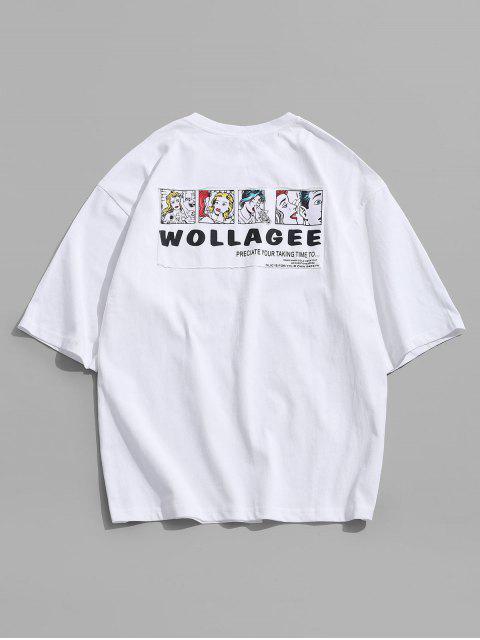 字母字符,打印休閒T卹 - 白色 3XL Mobile