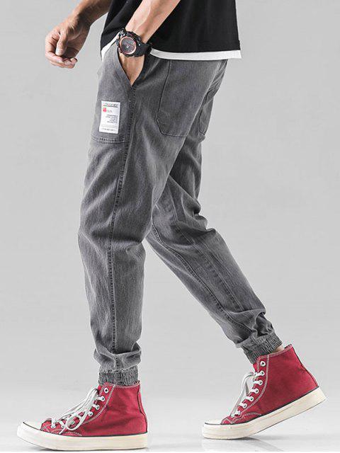 Pantalones Casuales de Estampado de Letra - Gris L Mobile