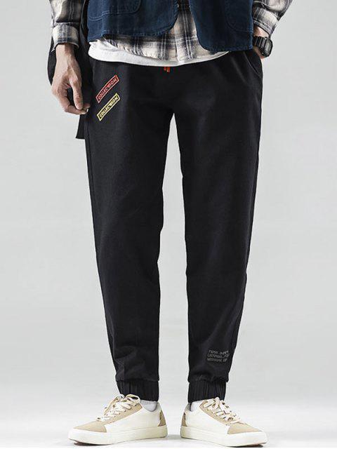 women Letter Pattern Beam Feet Pants - BLACK L Mobile