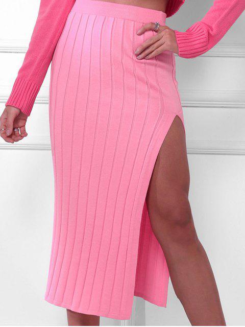 Falda Ceñido de Punto con Abertura Alta - Rosado M Mobile
