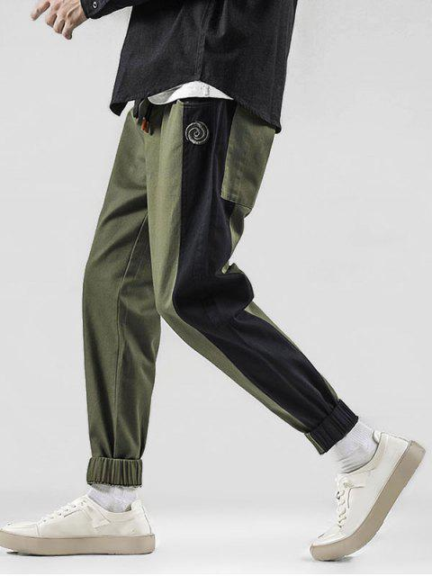 shop Color Spliced Embroidered Design Jogger Pants - ARMY GREEN S Mobile