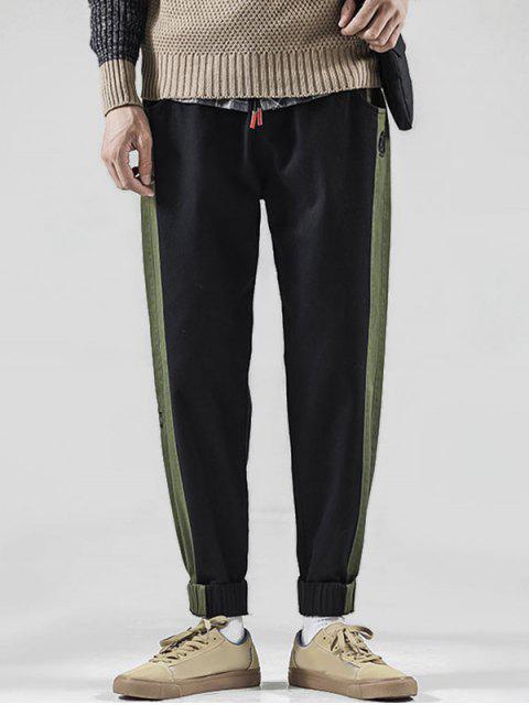 hot Color Spliced Embroidered Design Jogger Pants - BLACK XL Mobile