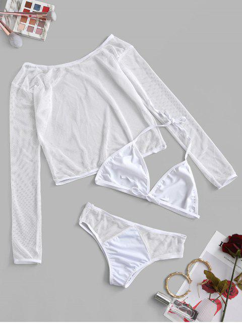 Traje de Bikini de Malla con Cuello de Halter con Nudo Superior - Blanco XL Mobile