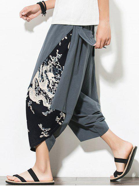 shops Dragon Printed Casual Elastic Waist Pants - GRAYISH TURQUOISE XL Mobile
