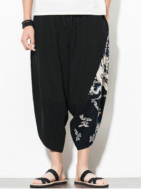 sale Dragon Printed Casual Elastic Waist Pants - BLACK XL Mobile